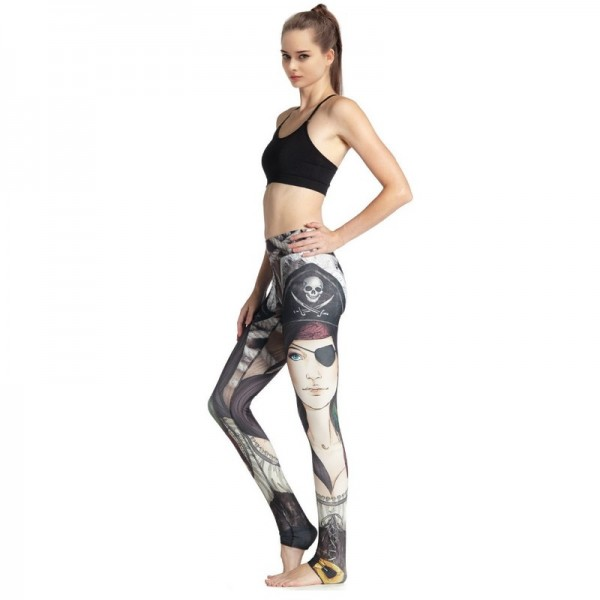 Pirate Girl Print New Legging Women High Waist Wicking Exercise Pant Elastic Band Ankle Length Fitness Leggings Extra Image 4
