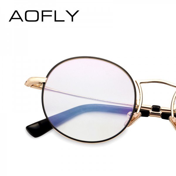 Plain Glasses Frame Women Brand Designer Alloy Glasses Frame Vintage Fashion Female Clear Lens Eyeglasses Extra Image 4