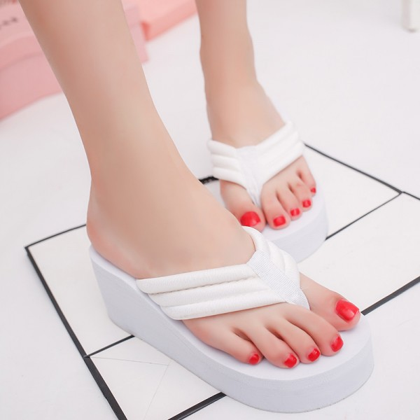 Platform Summer Women Slides Solid Flip Flops Wedges Shoes Woman Eva High Slides Beach Creepers Size 36 40 Extra Image 5