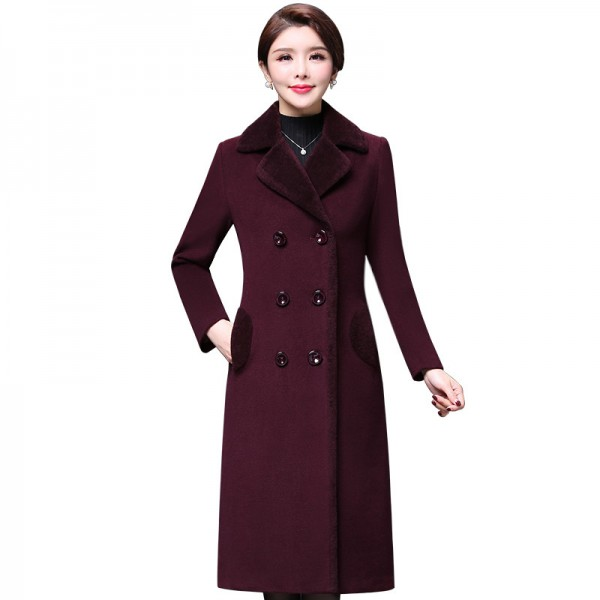 Plus size 4XL Double Breasted Wool Jacket Womens Clothing Autumn Winter Trench Woolen Coats Warm Cashmere Coats Extra Image 1