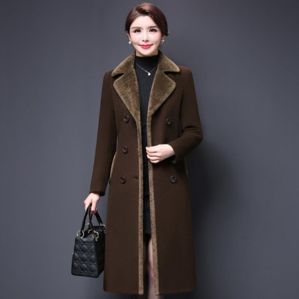 Plus size 4XL Double Breasted Wool Jacket Womens Clothing Autumn Winter Trench Woolen Coats Warm Cashmere Coats Extra Image 2