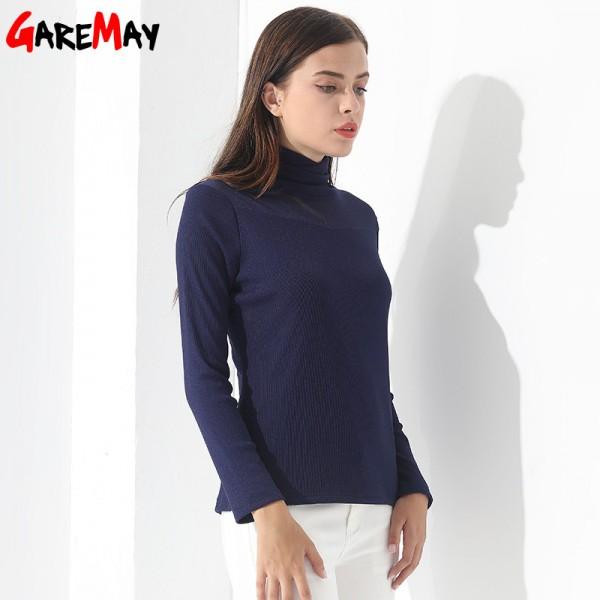 Plus size Blouse For Women Pullovers Winter Long Sleeve Casual Slim Feminine fashion Women Clothing Cashmere Turtleneck Extra Image 3