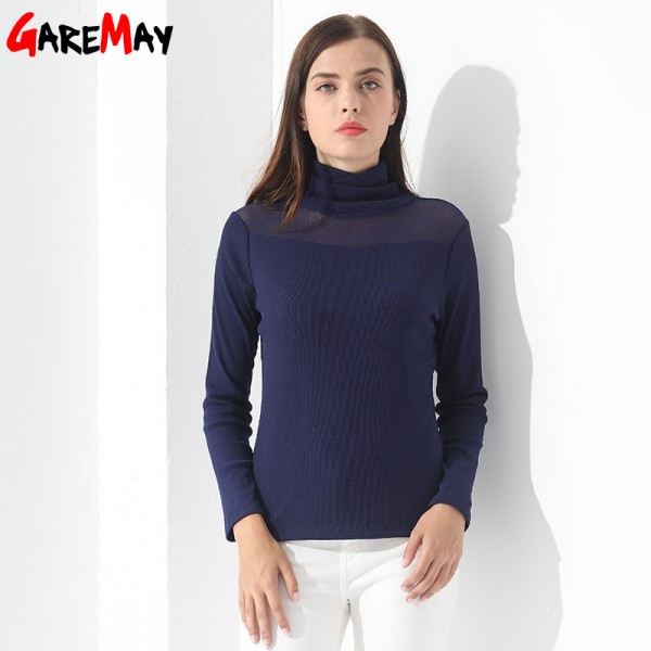 Plus size Blouse For Women Pullovers Winter Long Sleeve Casual Slim Feminine fashion Women Clothing Cashmere Turtleneck Extra Image 4