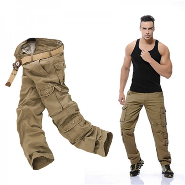 Plus Size Cargo Pants Men Solid Cotton High Quality Loose Military Trousers Fashion Brand Clothing Casual Men Pants Extra Image 1