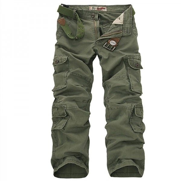 Plus Size Cargo Pants Men Solid Cotton High Quality Loose Military Trousers Fashion Brand Clothing Casual Men Pants Extra Image 3