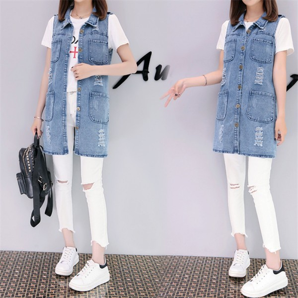 Plus Size Fashion Washed Four Pockets Decorated Women Denim Vest New Brand Sleeveless Chaquetas Mujer Veste Femme Extra Image 2