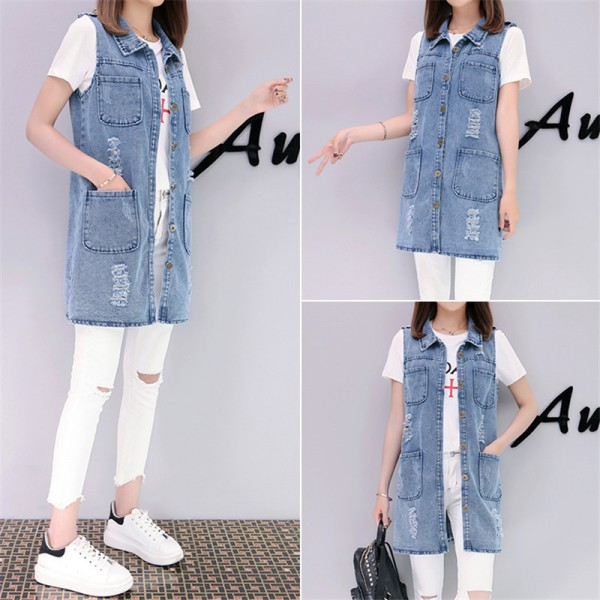 Plus Size Fashion Washed Four Pockets Decorated Women Denim Vest New Brand Sleeveless Chaquetas Mujer Veste Femme Extra Image 4
