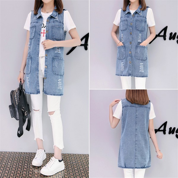 Plus Size Fashion Washed Four Pockets Decorated Women Denim Vest New Brand Sleeveless Chaquetas Mujer Veste Femme Extra Image 5
