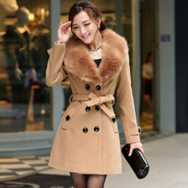 Plus Size M 5XL Winter Coat Women 2015 New Fashion Slim Big Fur Collar Double Breasted Womens Wool Blended Extra Image 3
