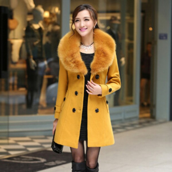 Plus Size M 5XL Winter Coat Women 2015 New Fashion Slim Big Fur Collar Double Breasted Womens Wool Blended Extra Image 4