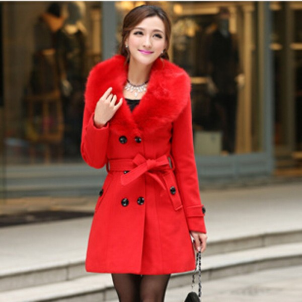 Plus Size M 5XL Winter Coat Women 2015 New Fashion Slim Big Fur Collar Double Breasted Womens Wool Blended Extra Image 5