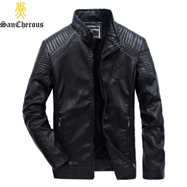 Plus Size Men Motorcycle Biker Leather Jacket New Windproof Wool Liner Thick Men Autumn Winter Leather Coat Extra Image 3
