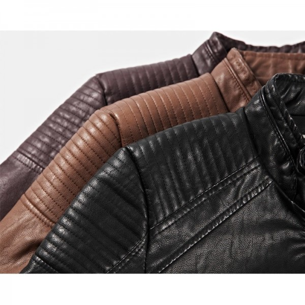 Plus Size Men Motorcycle Biker Leather Jacket New Windproof Wool Liner Thick Men Autumn Winter Leather Coat Extra Image 5