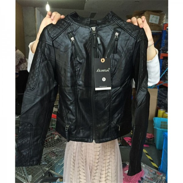 Plus Size New Fashion Spring Autumn Women Leather Coat Female Slim Black Leather Jacket PU Zippers Motorcycle Outerwear Extra Image 6