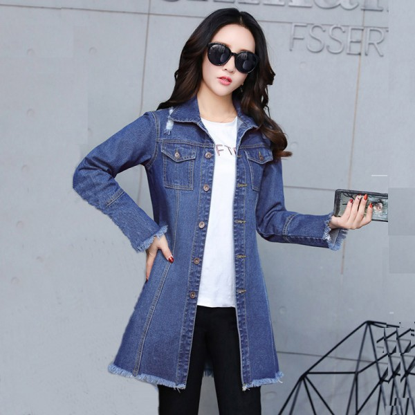new high quality factory outlet Plus Size New Long Denim Jackets Coats Spring Autumn Casual Hole Outerwear  Fashion Single Breasted Tassel Overcoat