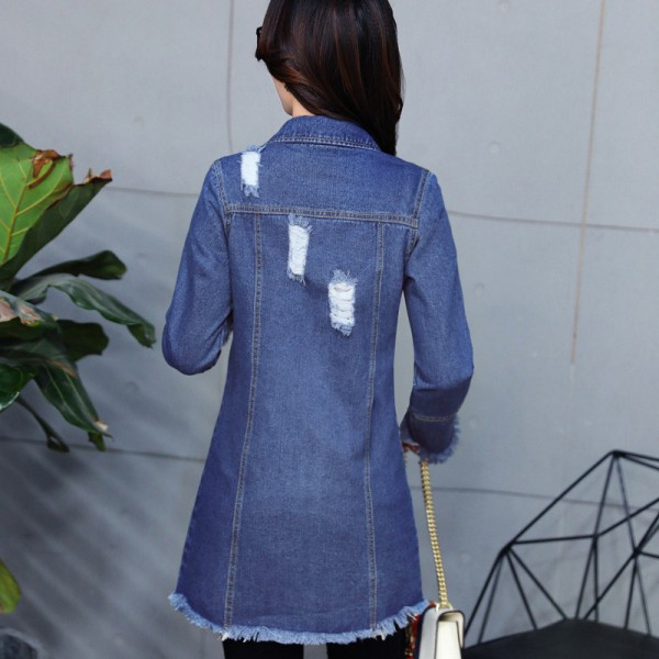 Plus Size New Long Denim Jackets Coats Spring Autumn Casual Hole Outerwear Fashion Single Breasted Tassel Overcoat Extra Image 4