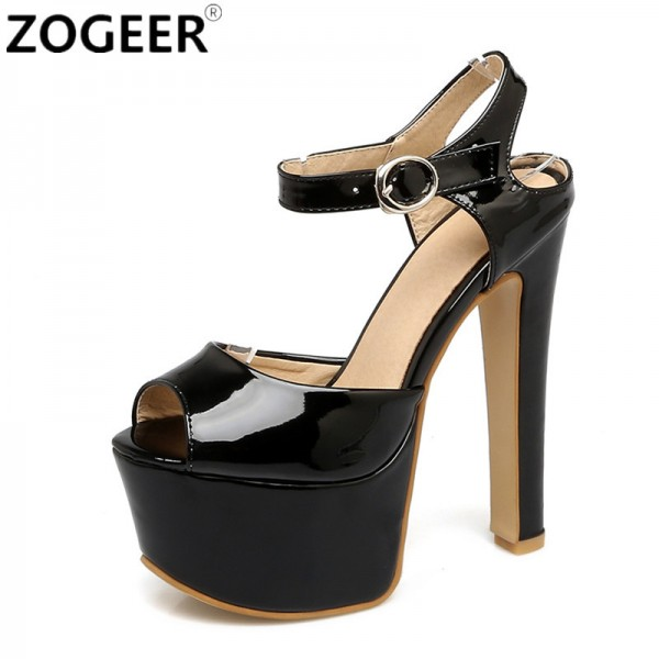 c7985bac3e9 Plus Size New Summer Gladiator Women Sandals Fashion Platform Extreme High  Heel Black White Wedding Shoes Woman