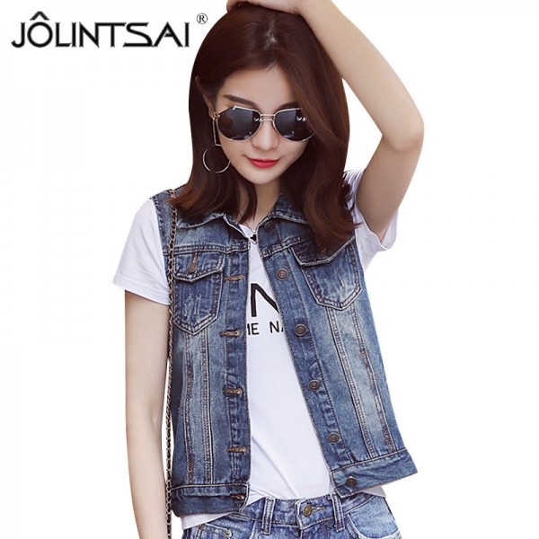 Plus Size New Summer Jacket Sleeveless Casual Slim Jeans Vest Vintage Fashion Short Paragraph Denim Vest Women Extra Image 1