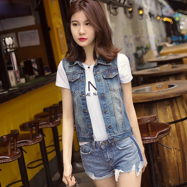Plus Size New Summer Jacket Sleeveless Casual Slim Jeans Vest Vintage Fashion Short Paragraph Denim Vest Women Extra Image 2