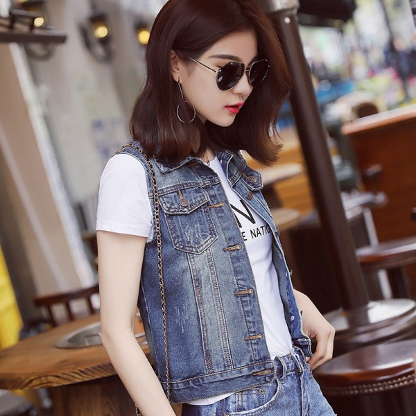Plus Size New Summer Jacket Sleeveless Casual Slim Jeans Vest Vintage Fashion Short Paragraph Denim Vest Women Extra Image 3