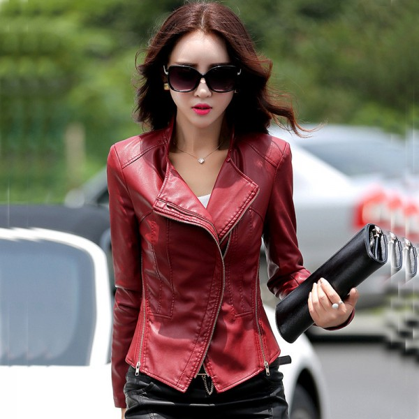 Plus Size PU Leather Jacket for Women New Fashion Zipper Turn Down Collar Female Short Motorcycle Jacket Coat