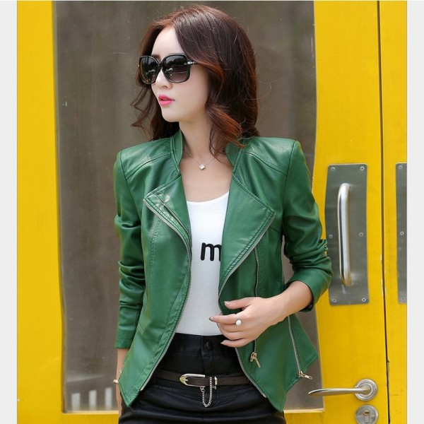 Plus Size PU Leather Jacket for Women New Fashion Zipper Turn Down Collar Female Short Motorcycle Jacket Coat Extra Image 2
