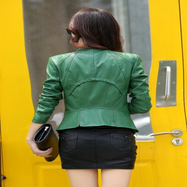 Plus Size PU Leather Jacket for Women New Fashion Zipper Turn Down Collar Female Short Motorcycle Jacket Coat Extra Image 3