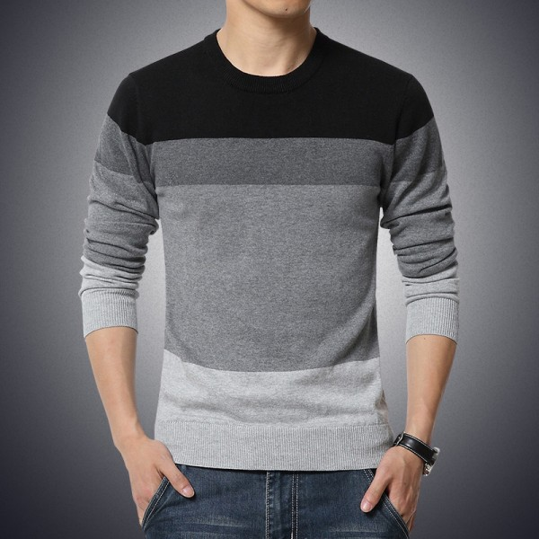 Plus Size Sweater Men New Arrival Casual Pullover Men Autumn Round Neck Patchwork Quality Knitted Brand Male Sweaters Extra Image 1