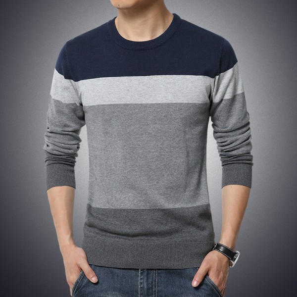 Plus Size Sweater Men New Arrival Casual Pullover Men Autumn Round Neck Patchwork Quality Knitted Brand Male Sweaters Extra Image 2