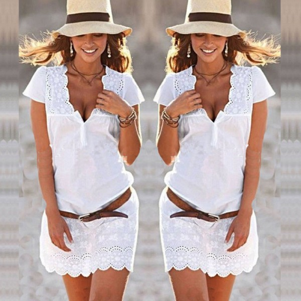 18f6a6d1e10 Buy Plus Size Mini White Lace Crochet Sexy Low Cut V Neck Short Sleeve  Women Dress Bodycon Party Night Club Dress