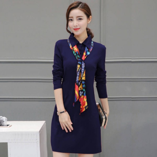 Plus Size Women Casual Dress Cute Solid Color Long Sleeve One Piece ...