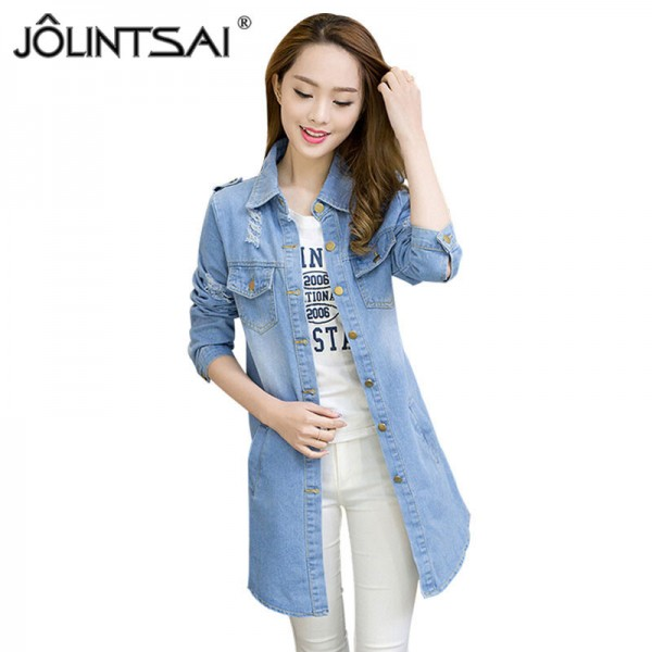Plus Size Women Denim Jacket Coat Jaqueta Feminina Spring New Korean Casual Medium Long Hole Jeans Jacket Women Extra Image 1
