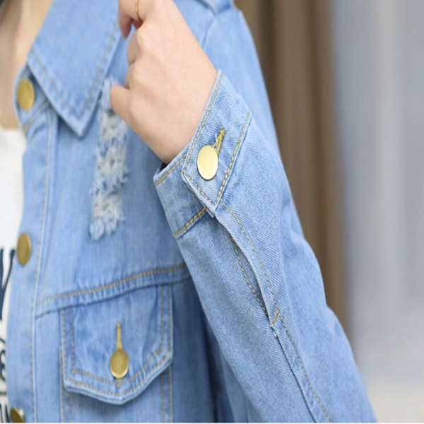 Plus Size Women Denim Jacket Coat Jaqueta Feminina Spring New Korean Casual Medium Long Hole Jeans Jacket Women Extra Image 6