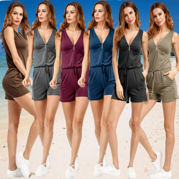 Plus Size Women Rompers Jumpsuits Summer Style Beach Sleeveless Overalls Bodysuits Summer Clothes