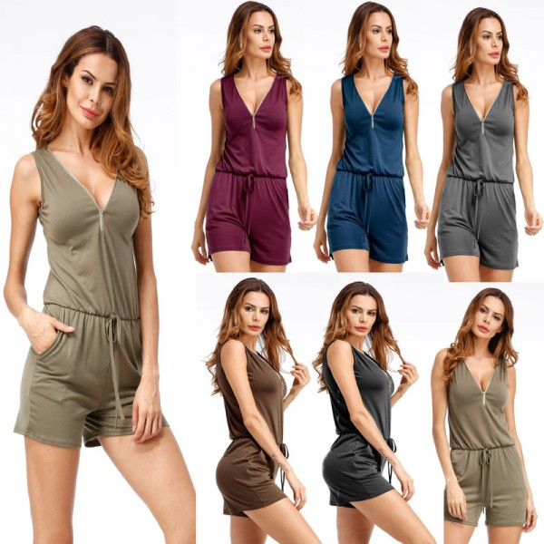 Plus Size Women Rompers Jumpsuits Summer Style Beach Sleeveless Overalls Bodysuits Summer Clothes Extra Image 3