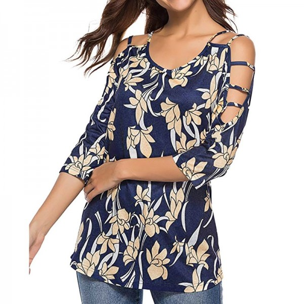 Plus Size Womens Tops and Blouses Vintage Floral Print Cold Shoulder Long Sleeve Blouse Women Clothes Ladies Tops