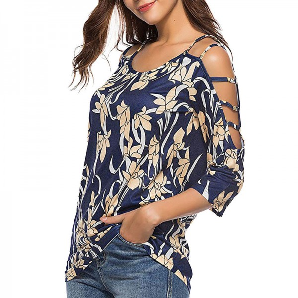 Plus Size Womens Tops and Blouses Vintage Floral Print Cold Shoulder Long Sleeve Blouse Women Clothes Ladies Tops Extra Image 3