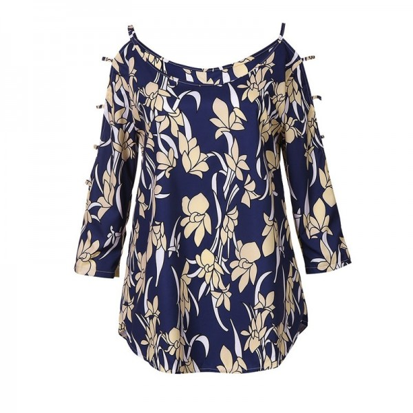 Plus Size Womens Tops and Blouses Vintage Floral Print Cold Shoulder Long Sleeve Blouse Women Clothes Ladies Tops Extra Image 4
