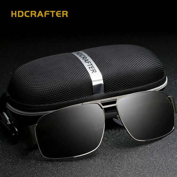 Polarized Driving Sunglasses For Men New Fashion Alloy Frame Rectangular UV400 Polarized Male Sunglasses Extra Image 2