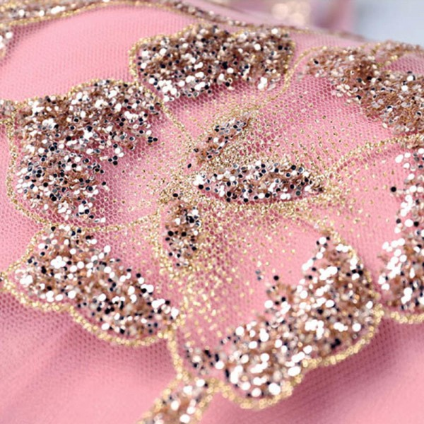 Popular Picture Perfect V Neck Sleeveless Evening Gowns Bling Sequined Flower Form Evening Party Prom Dress Extra Image 6
