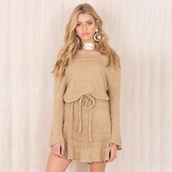 Pretty Autumn Dress Women Knitted Sweater Dress Slash Neck Solid Color Off Shoulder Casual Dress Mini Outwear Dress