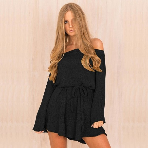 Pretty Autumn Dress Women Knitted Sweater Dress Slash Neck Solid Color Off Shoulder Casual Dress Mini Outwear Dress Extra Image 2