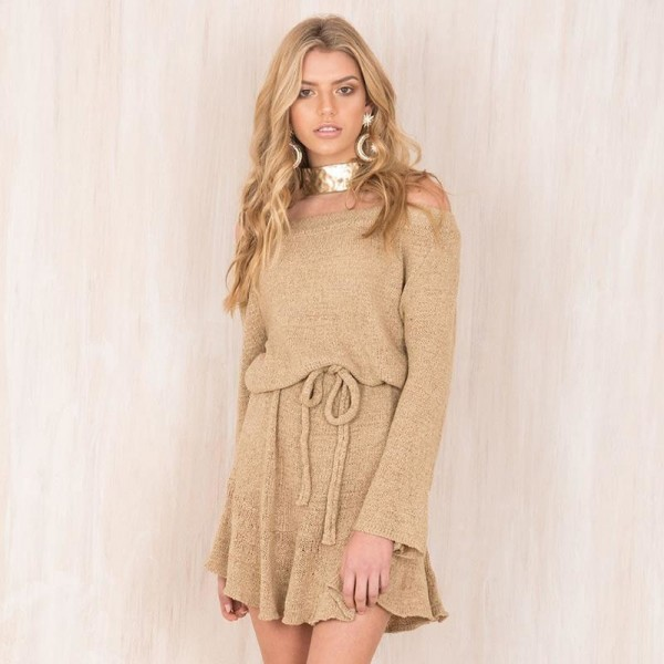 Pretty Autumn Dress Women Knitted Sweater Dress Slash Neck Solid Color Off Shoulder Casual Dress Mini Outwear Dress Extra Image 4