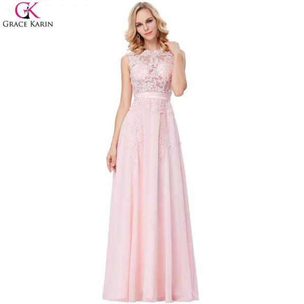 Pretty Evening Dress Pink Chiffon Elegant Formal Gowns Lace Lique See Through Special Occasion Dresses Wedding