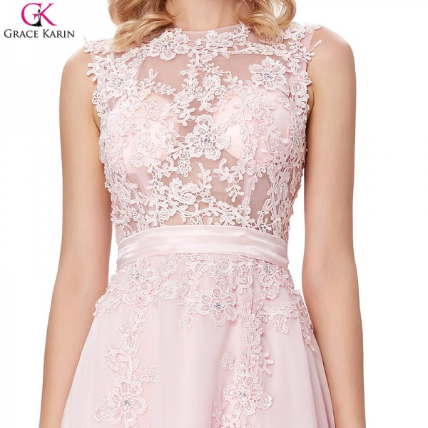 Pretty Evening Dress Pink Chiffon Elegant Formal Gowns Lace Applique See Through Special Occasion Dresses Wedding Party Extra Image 5