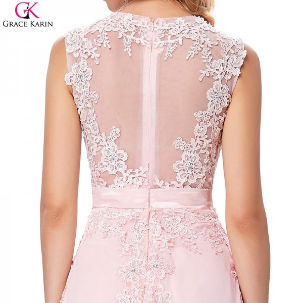 Pretty Evening Dress Pink Chiffon Elegant Formal Gowns Lace Applique See Through Special Occasion Dresses Wedding Party Extra Image 6