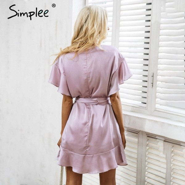 Pretty Ruffle strap satin white dress women vestidos Autumn short sleeve sexy dresses Party o neck chic short dress Extra Image 4