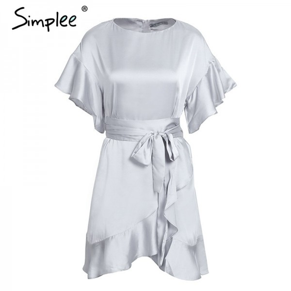 Pretty Ruffle strap satin white dress women vestidos Autumn short sleeve sexy dresses Party o neck chic short dress Extra Image 5