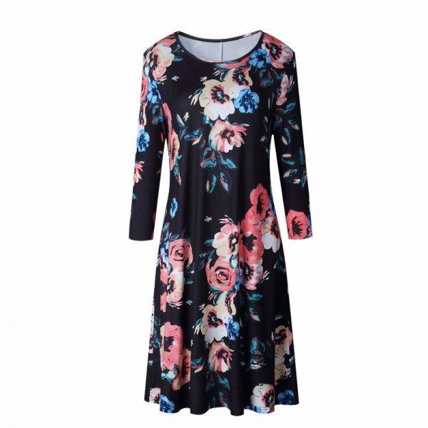Print Big Flower Floral Loose Beach Casual Dress Women Summer Autumn Sexy Bohemian Half Sleeve Ladies Dresses Black Extra Image 4