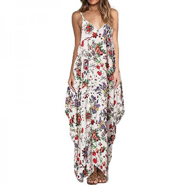Print Floral Loose Boho Bohemian Beach Dress Women Sexy Strap V Neck Retro Vintage Long Maxi Dress Summer Plus Size Extra Image 1